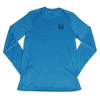 巴塔哥尼亞男子 Capilene 1 絲重量圖形船員長袖 T 恤藍色巴塔哥尼亞男子 Capilene 1 silkweight T 汗衫啟用 02P03Dec16