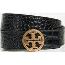 ショッピングトリーバーチ 【クーポンで最大2000円OFF】(取寄)トリーバーチ エンボス クロコ ロゴ ベルト Tory Burch Embossed Croc Logo Belt Black Gold
