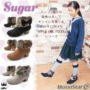 ムーンスター シュガー キッズ ジュニア ショートブーツ SG J455 女の子 子供靴 ブーツ ブーティ スエード ファー リボン ヒール 黒 茶 evid