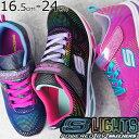 【あす楽】スケッチャーズ SKECHERS キッズ ジュニア 女の子 光る靴 10959L ブラック ネイビー ピンク evid