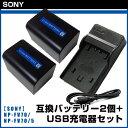 【SONY】 ソニー NP-FV70 /NP-FV70/5 互換バッテリー 2個 + USB充電器 セット ※定形外郵便不可商品