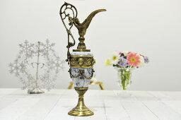 スペイン製 真鍮 ブラス ジャグ クレオパトラ ハンドル付 フラワーベース 花瓶 大理石