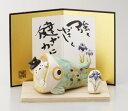 猫と鯉のぼり(緑) 日本製 五月人形 陶器 置物 国産 オブジェ 飾り物 ミニチュア 置き物 かわいい 和風 和モダン レトロ 男の子 和テイスト 可愛い コンパクト 小さい ねこ 猫 ネコ 鯉幟 鯉登り 作舎窯