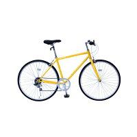 6段変速 クロスバイク 【イエロー】 700C スチール 幅169cm×奥行53cm×高さ100cm サドル83cm〜101cm 重量17kg 『FIELD CHAMP』【代引不可】の画像