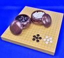 囲碁セット ヒバ1寸5分卓上碁盤セット(ガラス碁石竹・栗碁笥特大)