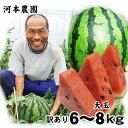 【予約販売】河本農園の大玉スイカ(訳あり)(1玉6-8kg程...
