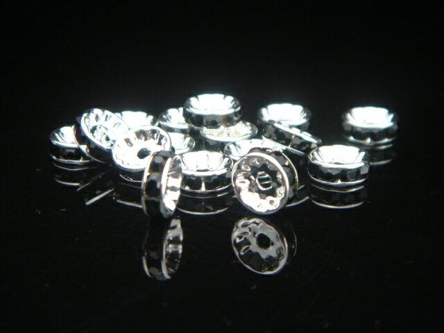 ロンデル12ミリブラック10個セット!【アクセサリーハンドメイド素材ロンデル】パワーストーン