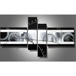 絵画 内装用 インテリアアート 【黒 灰の抽象】4枚組 W1300mm 斬新な筆使いで描き出すモダンアートハーフ(小さい)size リビング 玄関の壁掛け インテリア 抽象 和風 和モダン一般住宅向け リフォーム リノベーション