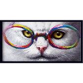 絵画 額入り 壁掛けの絵 壁に飾る絵画【これならどう?】かわいい猫の絵眼鏡屋さんの壁に飾ってほしい玄関 リビング ダイニング大きいサイズの油絵【額付き】ビビッド vivid 絵画