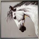 絵画 馬【ホワイトホース (白馬)】馬の絵 油絵癒しのヒーリングアート壁に飾る 壁掛け 額絵 ダイニング リビング に大きい 絵 額付き ..