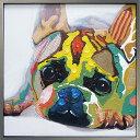 絵画 H830mm W830mmダイナミックな壁掛けインテリアかわいいワンコ・フクロウ・クマの絵【額付き】かわいい犬の絵 ヒーリングアート動物ペットの絵/フレンチブルドッグの絵リビング ダイニング インテリアビビッド vivid 絵画