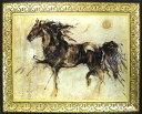 絵画 額入り【大人気の俊足アート】メキシコ女性作家 ゴットフライド マルタ アートフレーム「動物」「馬」額金色 gold 銀色 絵画