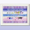 【別世界】「鮮やかな色彩と和洋折衷の遊び心を・・」ラメチップ入りゲル加工 アートフレーム女性作家 なかの まりの【アート 壁掛け】業務用【アートポスター】 【額付き】風水紫 パープル 絵画