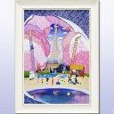 絵画 壁掛け 【NEW】【花の都 江戸】「鮮やかな色彩と和洋折衷の遊び心を・・」ラメチップ入りゲル加工 アートフレーム女性作家 なかの まりの 紫 パープル
