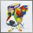 絵画 H830mm W830mmダイナミックな壁掛けインテリアかわいいワンコ・フクロウ・クマの絵【額付き】「ドッグシリーズ-6」かわいい 犬の絵 壁掛け
