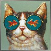 絵画 H830mm W830mmダイナミックな壁掛けインテリアかわいい猫ちゃん・ワンコ・フクロウ・クマの絵【額付き】人気の絵画!スタッフおすすめ♪『金魚 眼鏡』猫 金魚赤 朱色 red 絵画