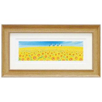 向日葵 4 屋簷晴山水畫水彩觸摸向日葵藝術小組自然風水自然可愛的圖片掛喜慶禮品禮物母親的一天喬遷繪畫藝術無框畫黃色黃色