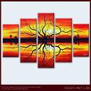 モダン 絵画 アート 【夕陽と生命の樹-tree of life-sunset】大きいサイズの油絵 洋画 抽象画風景画 絵画