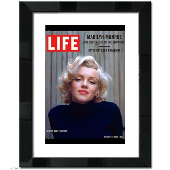 マリリン モンロー ブラックメタリック 日本製 高級額 マット付き アートポスターLIFE (ライフ)ポスター 壁掛け