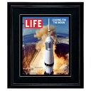 LIFE アートポスター「リービングムーン ロケット」インテリア 絵 写真 雑誌 表紙 黒フレーム 絵画 ライフ 復刻 フレーム付