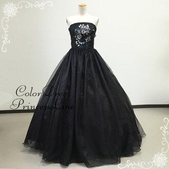 Stage costume dress wedding Black Black 5-7, strapless organza ruffle soft dress wedding concert trumpet 01296-2