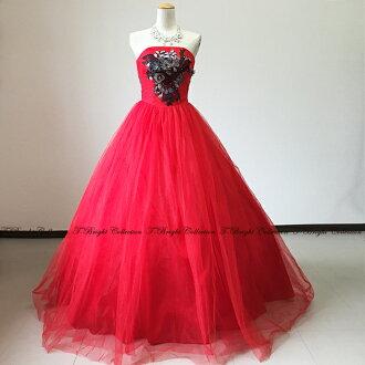 Stage costume dress wedding Red No. 7-9 ball gown organza frills fluffy dress wedding concert long dress 01296