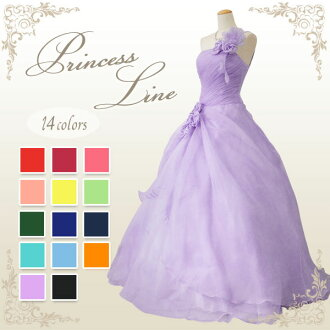 Dress time limited sale flower corsage ♪ back rubber lace-up dress with organza ★ Princess line ★ no.5-7 / 7,--9 / 9,-11 no. 11-13 ★ (red / yellow / Mint green and light purple ) 51436
