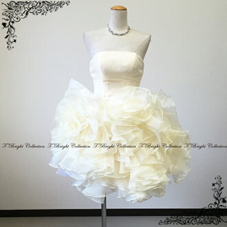 Organza frills are fluffy Cute ♪ back lace-up miniweddingdo Les ★ medium-length / mini ★ 7-9 ★ (ivory) 51076-b