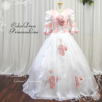 Princess dress pink system gown stage costume play medieval nobility Royal wind luxury wedding wedding party dress ethnic costume Queen dress ruffle European cosplay dress antique hm-g11161-t