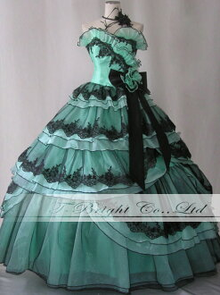 ♪ colored races reply ★ princess line ★ green X black ★ 02140-0 which size order colored racesless back laceup ☆ waist corsage ribbon has a cute