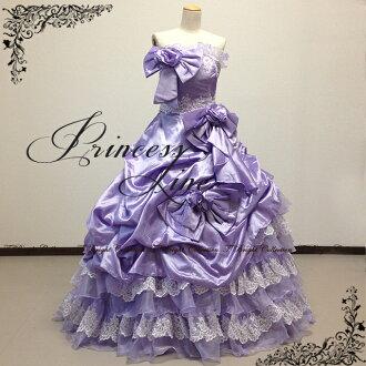 Dress purple * white ★ neckline sequin dress gorgeous ★ gown ★ 11-13 issue (Purple system) st241.
