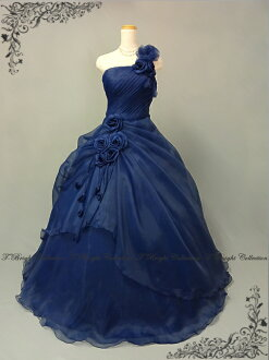 Custom dress Navy Blue back lace-up neckline ruched ♪ flower corsage soft organza ball gown 51436nb-0