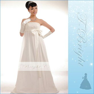 Wedding dresses Empire line off white sparkle with beading! tb284-0 # 11 リボンウェディング dress (off white)