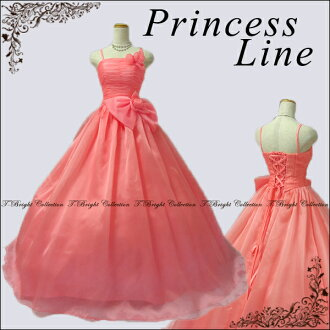 (Back in stock) crochet dress / coral pink / Princess line / back ♪ big Ribbon accent! / 5-7 / 7, ~ 9 / 11-13 / (coral pink light green blue Navy red black) 01264-cp
