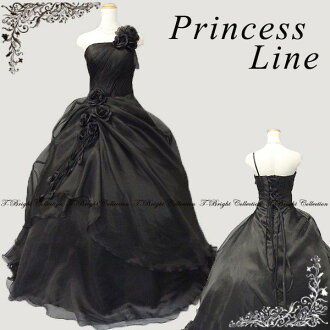 Colored racesless black black flower corsage ♪ back laceup organdy colored racesless ★ princess line ★ 5 - 7 51436bl