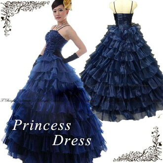 Dress neckline ruched & beads embroidery-フリルネイビー color dress ★ Princess line ★ no. 7 and no. 9 ★ (Navy Blue type) tb371-2