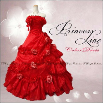 Dress wedding Red No. 7 line Princess flower corsage ♪ organza ruffle soft color dress wedding concert dress 01296