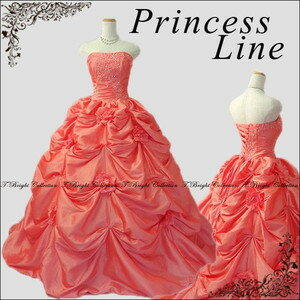(the re-arrival) Dress ♪ 7 /9 /11 (black, white, coral pink, navy blue, light blue, light green, yellow, red, wine red) r52918-cp of the embroidery with the colored racesless wedding coral pink princess line flower corsage