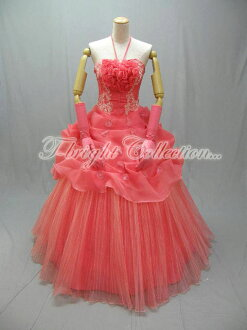 Cocktail dress ★ princess line ★ (salmon pink) of the size order halterneck ♪ pleats organdy 51656
