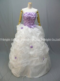 Size order back lace-up florets plenty ♪ cute fluffy ★ Princess line dress with organza ★ (white x purple) purple size given wedding dress ★ 51765