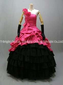 Size order tiered skirt ♪ colored racesless ★ princess line ★ (pink X black) luxurious softly 51922