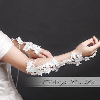 フィンガーレス embroidered gloves ☆ off-white (g208)