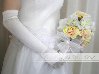 Simple long glove ★ approximately 46cm ★ white / off-white (there is luster) (g84)
