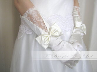 Wedding prom gloves glove with gloves ☆ off-white (g158)