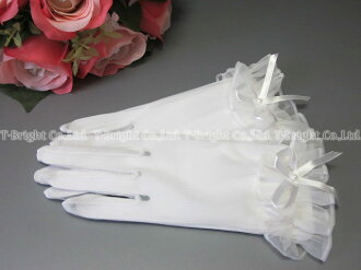 Short gloves ☆ Ribbon with リストフリル ☆ off-white (g246)