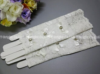 Short gloves ☆ races ☆ flower clear beads & Ribbon with off-white ☆ finger ☆ no dress gloves (g268)