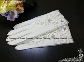 ★Dress glove (g271) which there is organdy wedding glove ☆ off-white ☆ finger of dress glove ★ shortstop glove rhinestone & パールビージング in