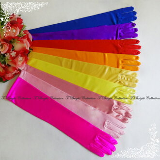 Medium ♪ simple colored gloves ☆ 44 cm ☆ red / orange / gold / yellow / coral pink / pink and shocking pink / purple / blue ☆ (g274)