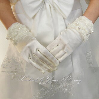 Cute fluffy florets. short gloves ☆ ivory favor wedding gloves (gl071257)