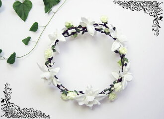 Corolla flower Crown (1649) wedding flower crowns flower motif ornament headdress accessory white beach resort